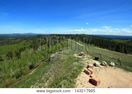 Cement Ridge split rail fence view of the Black Hills in South Dakota United States