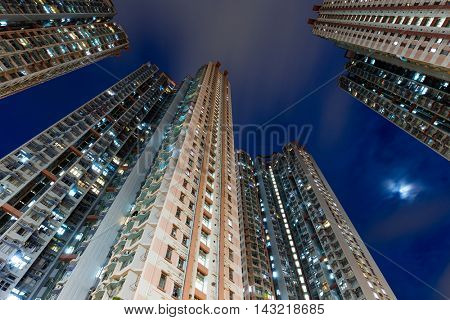Residential building from low angle at night