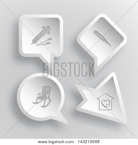 4 images: syringe, thermometer, armchair, orphanage. Medical set. Paper stickers. Vector illustration icons.