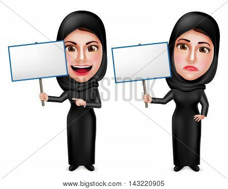 Female muslim arab vector characters holding white empty placard sign wearing black dress with happy and sad facial expressions isolated in white. Vector illustration