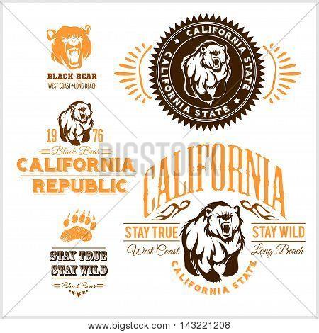 Set of stylish retro badges with bears - California Republic. Vector set.