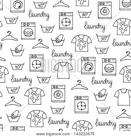 Vector seamless hand drawn pattern with hand drawn isolated symbols of laundry on white color. Pattern on the theme of cleanliness and tidiness. Background for use in design, packing, web site, fabric
