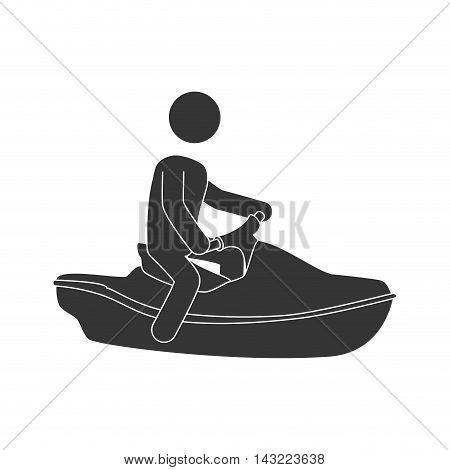 jet ski vehicle acuatic sport water extreme vector illustration
