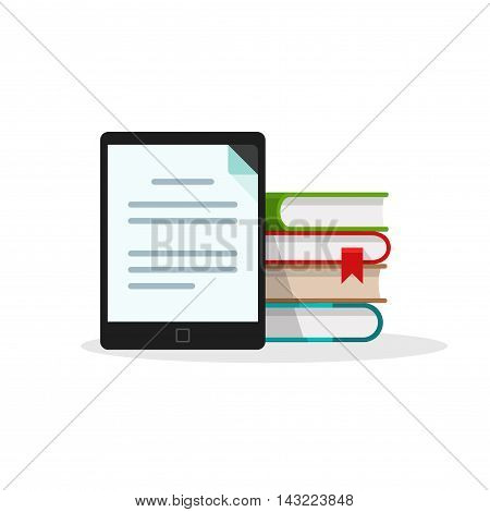 Virtual library concept isolated on white background, stack of books behind electronic book reader or tablet with document page on screen, online education icon, learning, e-book digital technology