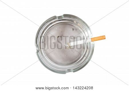 Cigarette butt in ash tray isolated on the background