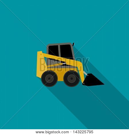 Loader icon in flat style. Vector icon of building machinery with long shadow.