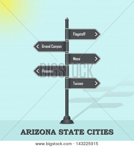 Road signpost template for USA towns and cities - Arizona state