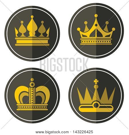 Yellow crown icons on color background. Labels of golden crowns in circle. Vector illustration