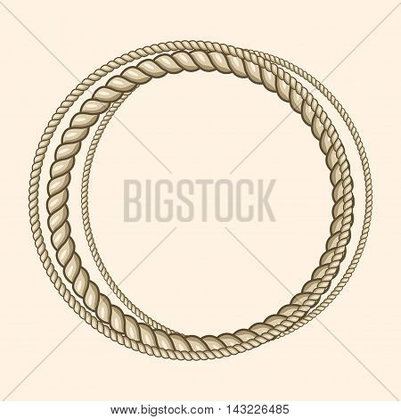 Round marine ropes frame for text. Vintage nautical style, vector illustration