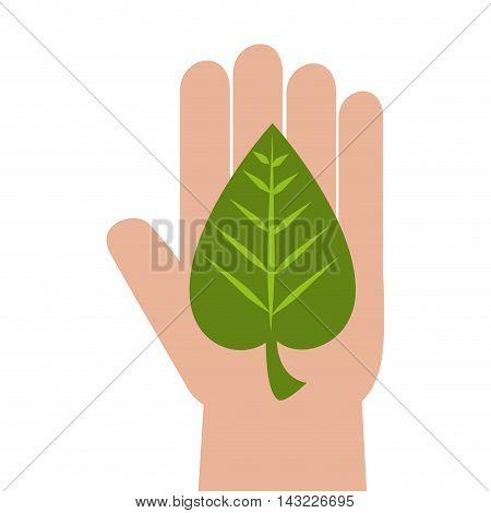 hand leaf ecology conservation leaves enviroment conservation vector illustration