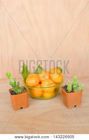 close up fresh orange on wooden floor