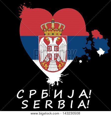 Illustration Serbian flag in the heart on a black background.