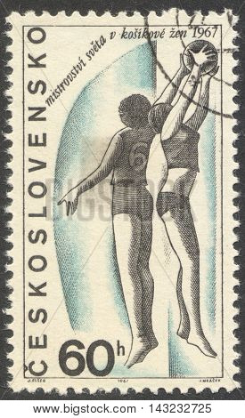 MOSCOW RUSSIA - CIRCA JUNE 2016: a post stamp printed in CZECHOSLOVAKIA dedicated to the World Women's Basketball Championship the series