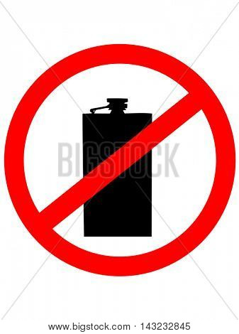 Prohibition sign icon. No drink with Hip flask. Vector illustration