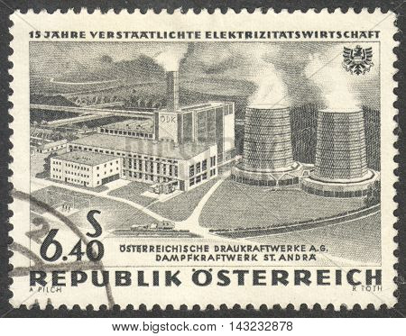 MOSCOW RUSSIA - CIRCA JUNE 2016: a post stamp printed in AUSTRIA shows Steam Power Plant St. Andre the series
