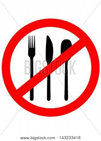 Prohibition sign icon. No food. Vector illustration.No Eating Sign