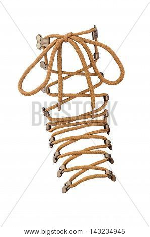 brown shoe laces isolated on white background