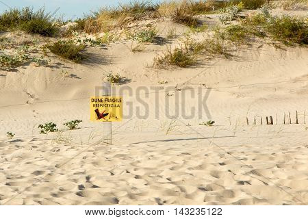 Beach Dunes And Wooden Picket Fence, With Sign Warning