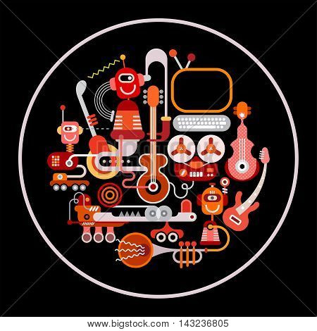 Modern Recording Studio vector illustration. Round shape art collage of a musical instruments and electronic equipment isolated on a black background.