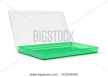 Green Plastic Stationery Box on White Background