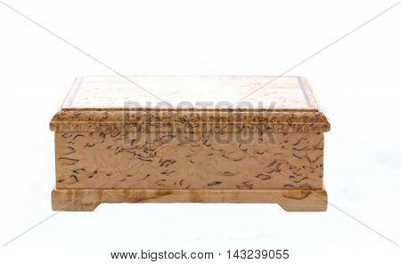 Box Of Karelian Birch On White Background