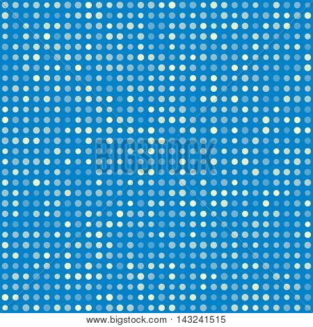Blue pattern of multiples dots. Fashion trends circles background. Vector illustration. May use for modern paper, textile , background, digital, website template, wallpaper