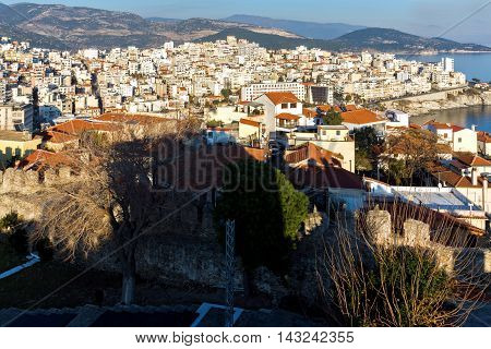 Panoramic view to city of Kavala, East Macedonia and Thrace, Greece poster