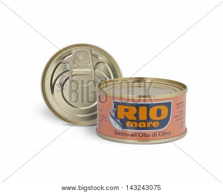 CHISINAU MOLDOVA - AUGUST 12 2016: Can of Rio Mare brand tuna in olive oil. Rio Mare is manufactured by Bolton Group the European leader in canned tuna fish. With clipping path.