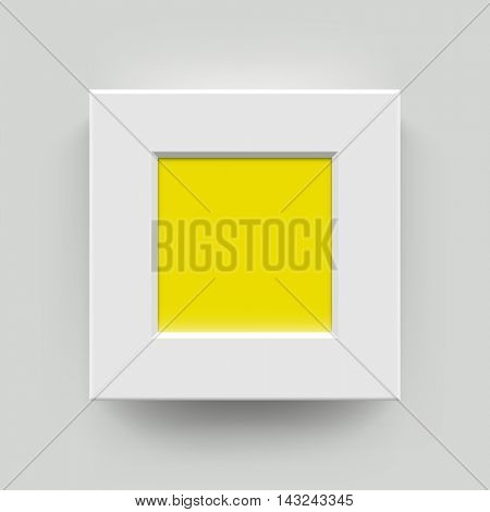White with yellow blank photo frame wall gallery set. Modern vector square picture frame mockup template on wall background