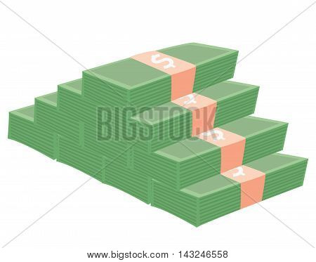 Money bill piramid flat cartoon vector illustration