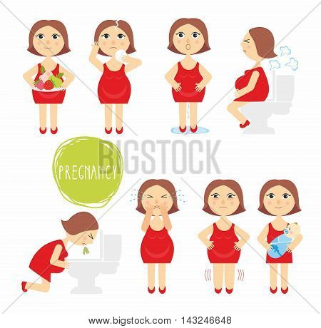 illustration signs of pregnancy symptoms - toxemia of pregnancy, swelling, emotional instability, stomach problems. mom and baby. on white background, vector