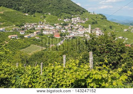 Small italian town Valdobbiadene surrounded by vineyards zone of production of traditional italian white sparkling wine Prosecco