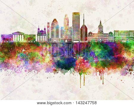 Baltimore V2 skyline artistic abstract in watercolor background