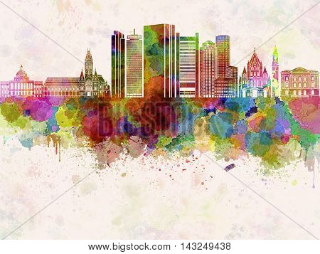 Boston V2 skyline artistic abstract in watercolor background