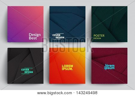 Set of Abstract Cards with Layers Overlap. Applicable for Covers, Placards, Posters, Flyers and Banner Designs.