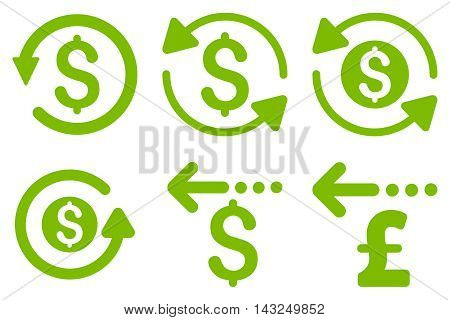 Refund vector icons. Pictogram style is eco green flat icons with rounded angles on a white background.