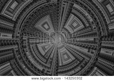 Abstract grey technical square fractal on grey background