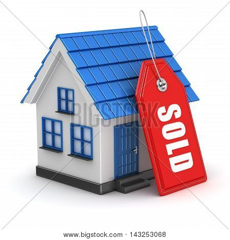 3D Blue House And Sold Tag