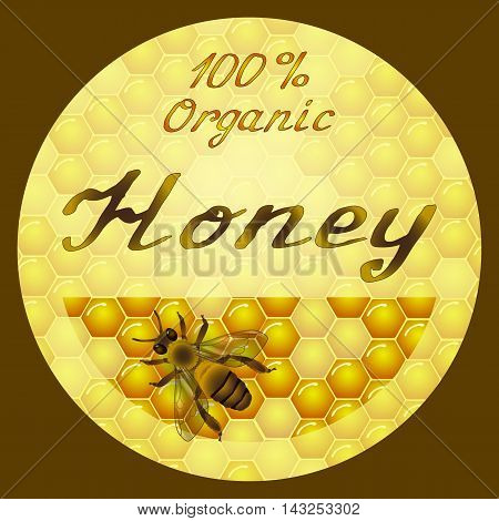 Vector honey round label design. Honeycombs texture background. Bee on honeycomb background. Hand lettering. Template for honey package tag or wrapping.