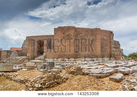 ancient ruins of Roman Odeon, Patras, Peloponnese, Western Greece