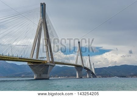 View of The cable bridge between Rio and Antirrio, Patra, Western Greece