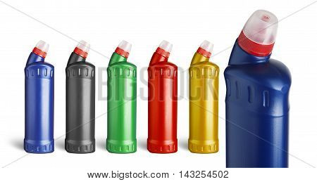 Set plastic bottle for liquid laundry detergent cleaning agent bleach or fabric softener.