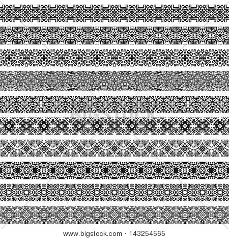 Design elements and page decoration in black and white colors. Most popular ethnic borders in one mega pack set collections. Vector illustrations.Could be used as divider, frame, etc