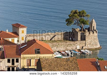 Panorama with Fortification at the port of Nafpaktos town, Western Greece