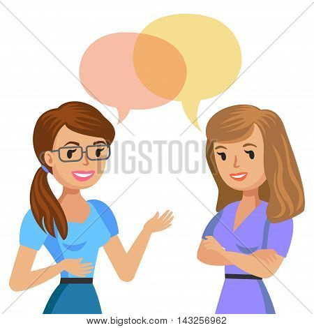 Two young women talking. Meeting colleagues or friends. Vector illustration