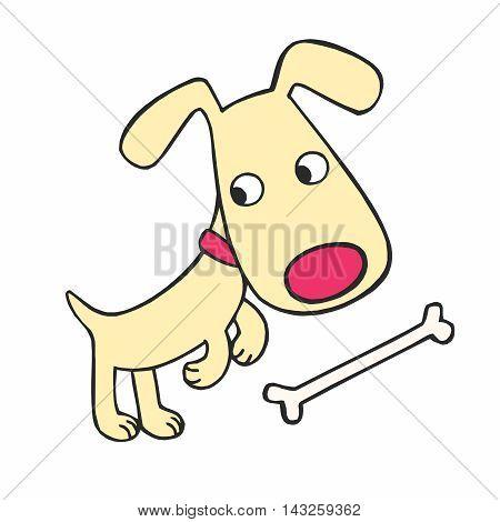 Vector Cute Cartoon Dog and Bone Illustration isolated on white background