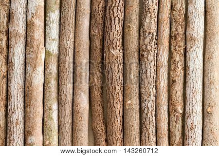 Background texture of a row of rustic natural wooden colored pencil crayons laid side by side in a full frame view