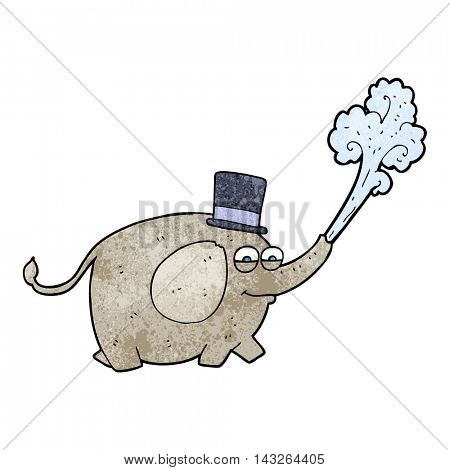 freehand textured cartoon elephant squirting water
