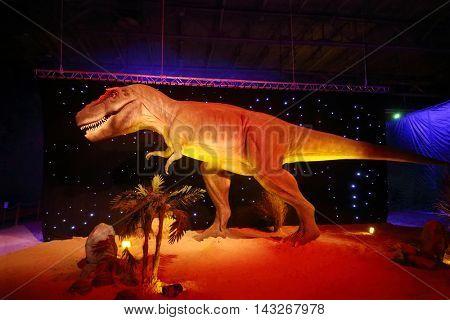 MOSCOW - JAN 30, 2015: Tyrannosaurus Rex at Show of dinosaurs in pavillion of VDNKH