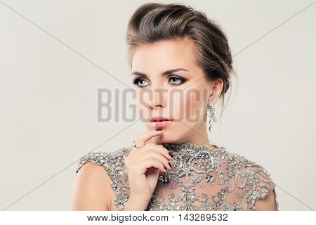 Cute beautiful Woman. Lace Strass and Jewelry